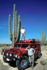 Coleen, Jess, and giant cardon cactus in 2002
